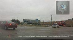 ACCIDENTE en la entrada al polígono La Mora. Camión cruzado en la rotonda de acceso  #Valladolid