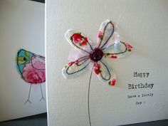 this is a pretty card for that special birthday, it has been made from fabric with a floral print free machined onto card. the card measures 15 cm x and is white with a matching white envelope and sprinkles of happiness. This card is blank inside. Fabric Postcards, Fabric Cards, Paper Cards, Diy Cards, Freehand Machine Embroidery, Free Motion Embroidery, Free Machine Embroidery, Handmade Birthday Cards, Happy Birthday Cards