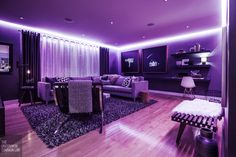 Black light accent lighting for the the party is about to get WILD!!  love that you can use this feature at night, but when it's off- you'd never even know it's there!!  @The Uncommon Common Law The Uncommon Law - The Living Room: Before & After