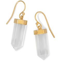 14 Karat Gold Plated Clear Quartz Drop Earrings ($63) ❤ liked on Polyvore featuring jewelry, earrings, accessories, 14k jewelry, clear quartz crystal jewelry, drop earrings, earring jewelry and clear earrings
