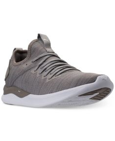 Men'S Ignite Flash Evoknit Casual Sneakers From Finish Line, Rock Ridge-Puma  White