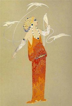 Aphrodite - 1985 - by Erté aka Romain de Tirtoff - Style: Art Deco I have signed stolen Arte Art Deco, Art Deco Artists, Estilo Art Deco, Art Deco Illustration, Art Nouveau, Art Quotidien, Art Amour, Erte Art, Romain De Tirtoff