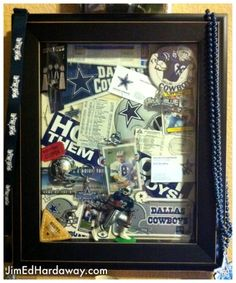 Dallas Cowboys Collection Shadow Box. This box displays some of my Dallas Cowboys keepsakes. The box is big enough to display a small pennant, stickers, a small action figure, buttons, trading cards, ticket stubs, and more! Fuel your creativity at: www.jimedhardaway.com