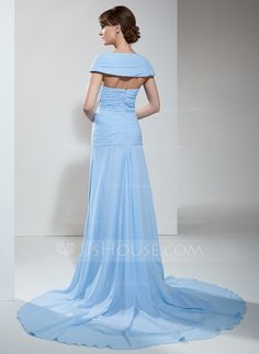 A-Line/Princess Off-the-Shoulder Court Train Chiffon Mother of the Bride Dress With Ruffle Beading (008005993)
