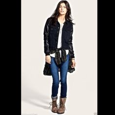"""Free People black faux leather sleeve denim jacket Fabulous Free People black faux leather sleeve denim jacket * relaxed fit Sleek faux-leather sleeves  and oversized chest pockets give a modern update to a classic denim jacket Front button closure. Oversized Chest pockets. NEW WITH TAGS  *   SIZE:  X SMALL retail price:  $148.00  100% cotton with 100% polyurethane faux leather. Machine wash cold, tumble dry low.  19"""" under arm to arm (38"""" around ) 34"""" around waist 24"""" long sleeves 21"""" long…"""