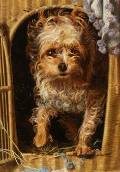 Anthony Frederick Sandys (1829-1904)  Darby in his Basket Kennel