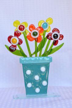 Fused Glass Flower Pots By Saskia