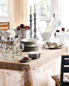 crystal and apples table setting