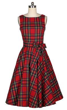 50s Bombshell Pinup Women Scotland Plaid Red Dress by ScreamDress, $75.00