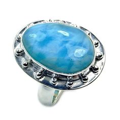 Large Caribbean Gem Rare Dominican Larimar Ring & .925