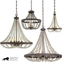 Savoy House Mallory Beaded Chandeliers Wood Bead Chandelier, Shell Chandelier, Chandelier Lighting, Chandeliers, Transitional Lighting, Swedish Style, Iron Beads, Flush Ceiling Lights, Grey Wood