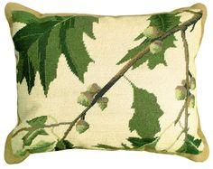 Oak Leaves Needlepoint Pillow