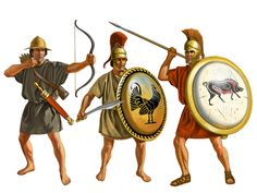 Hoplites from the Peloponnesian war. These men could represent any infantry serving either side during the long protracted conflict. The bowman is most likely of Cretan origin.