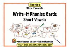 55 colorful short vowel sounds Write-It Phonics Cards.  Students write the correct vowel with a dry erase marker, wipe the cards and they're ready for use again. Great for centers!