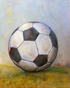 """Soccer Ball:"" Oil on canvas, 10"" x 8"". A soccer ball that has been used time and time again was my subject for this painting.  I liked painting this portrait view of the ball which shows some ""personality"" I think."
