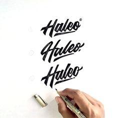 Haleo Logo Design by @maseiqbal Follow us for daily logo design inspiration @logotorque on instagram Logo Inspiration, Script Logo, Instagram