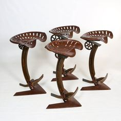 Steampunk. Tractor seat. Industrial seating. Hey, I found this really awesome Etsy listing at https://www.etsy.com/listing/198008294/rustic-tractor-seat-bar-stool-set