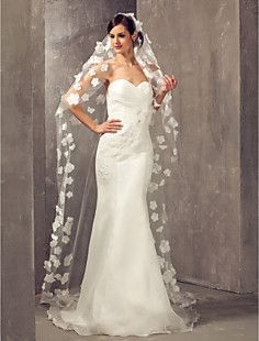 One-tier Cathedral Wedding Veil With Satin Flowers – USD $ 58.19
