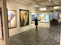 Artist Teshia posing with her original artwork at Galerie Züger Vail in beautiful Vail, Colorado! Original Artwork, Original Paintings, Vail Colorado, Colorful Animals, Wildlife Art, Park City, Galleries, Fine Art Prints, Art Gallery