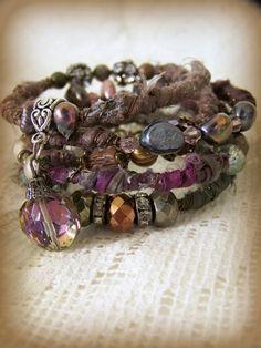 Gypsy Bangle Bracelet Stack Wire Wrapped Boho Bracelet by QueenBe