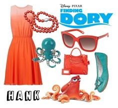 """""""Finding Dory Hank Disney Disneybounding"""" by beneaththeferns ❤ liked on Polyvore featuring Balenciaga, Marc Jacobs, ERIN Erin Fetherston, bleu and Tory Klein"""