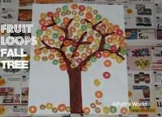 Fall Kids Craft- Fruit Loops Collage ~ Putti's World -kids-activities