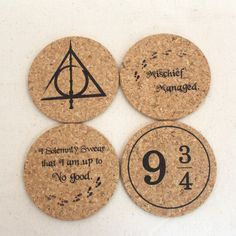 Harry Potter Themed Cork Coaster Set of 4