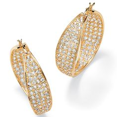 Round Cubic Zirconia 14k Yellow Gold-Plated Inside-Out Hoop Earrings