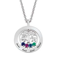 Mother's Synthetic Birthstone Family Tree Pendant in Sterling Silver Stones and Names) - Peoples Jewellers Mother's Synthetic Birthstone Family Tree Pendant in Sterling Silver Stones and Names) - - Save on Select Styles Name Necklace, Gold Necklace, Pendant Necklace, Necklace With Kids Names, Peoples Jewellers, Family Tree Necklace, Mommy Jewelry, Tree Pendant, Family Jewels
