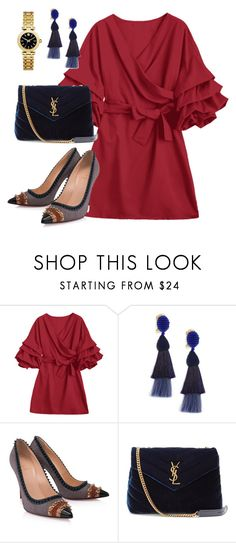"""""""Untitled #886"""" by polyvorebyv ❤ liked on Polyvore featuring Oscar de la Renta, Christian Louboutin, Yves Saint Laurent and Tory Burch"""