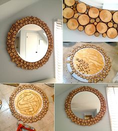Awesome Wood Slices Round Mirror to Decorate Your Blank Wall - http://www.amazinginteriordesign.com/awesome-wood-slices-round-mirror-decorate-blank-wall/