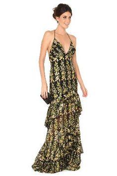 Vestido longo de tela preta com bordado de flores em amarelo e verde, decote frente única e barrado com babados.