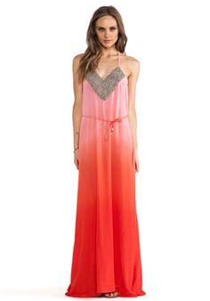 Karina Grimaldi Nassarena Beaded Maxi Dress en Coral Ombre   REVOLVE