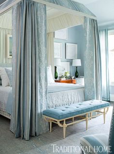 This dreamy blue-and-ivory bedroom captures the essence of air and light. - Photo: John Bessler / Design: Phoebe Howard