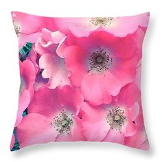 "Softest Pinks  Throw Pillow 14"" x 14"" by Anna Porter"