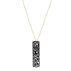 Holly pendant on 18k gold chain in black rhodium-plated sterling silver with diamonds, Dana Bronfman, $2,975