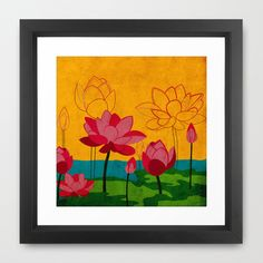 Flowers: lotus Framed Art Print by UvinArt - $35.00