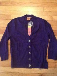 NEW Tory Burch Simone Shrunken Reva Cardigan Sweater Purple Large Cotton SalE