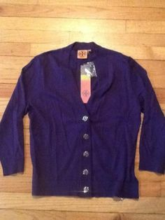 NEW Tory Burch Simone Shrunken Reva Cardigan Sweater Purple Large Cotton SalE