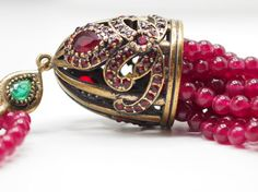 Necklace with Bordeaux Wine Round Jade Gemstone by NenaJewellery