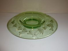 Vintage Green Depression Glass Centerpiece Bowl with Floral Etch, Mushroom Shape