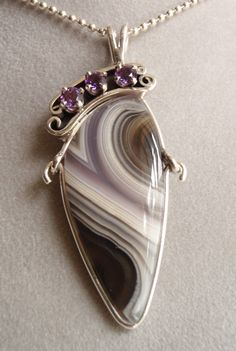 Laguna agate, amethyst, and sterling silver finished pendant