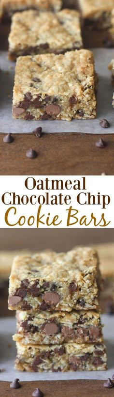 Oatmeal Chocolate Chip Cookie Bars - thick and chewy cookie bars with oats and chocolate. A family favorite! Desserts With Oatmeal, Cookies With Oats, Oatmeal Chocolate Chip Cookie Bar Recipe, Chocolate Chip Dessert, Oatmeal Cookie Bars, Bar Cookies, Oatmeal Squares, Chocolate Chip Brownies, Easy Oatmeal Bars