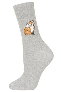 Embroidered Fox Ankle Socks