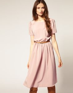 asos soft skirt midi dress with short sleeves in pink
