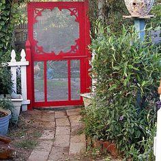 Ideas For Vintage Screen Door Ideas Garden Gates Vintage Screen Doors, Old Screen Doors, Metal Screen, Vintage Windows, Old Doors, Door Entryway, Diy Door, Trellis Gate, Gold Wallpaper Background
