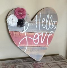Wood pallet heart sign, love wooden heart sign, rose quartz home decor, hello love quote, SIGN ONLY