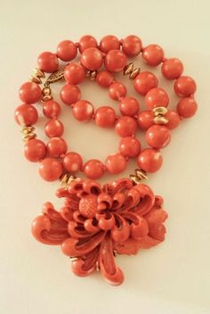 Antique-Chinese-14K-Gold-Mediterranean-Salmon-Coral-Pendant-Floral-Necklace $4600