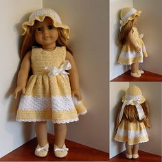 free crochet dress pattern american doll | : PDF Crochet Pattern - Dress, Hat and Shoes to American Girl Doll ...