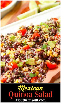 Mexican Quinoa Salad made with quinoa cooked in the instant pot then tossed with tomatoes, black beans, corn, avocado and green onions. A slightly spicy dressing turns the ingredients into a tasty side dish or salad. Mexican Quinoa Salad, Mexican Salads, Lentil Salad, Mexican Food Recipes, Chickpea Salad, Chicken Salad Recipes, Healthy Salad Recipes, Pasta Recipes, Chicken Pasta